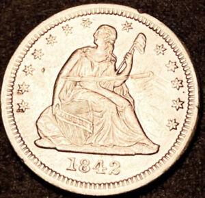 1842 O Seated Liberty Quarter 25c Semi Key Rare Large Date Variety UNC Details