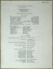 ROCKY HORROR PICTURE SHOW ~ MOVIE SCRIPT ~ INCLUDING ALL SONG LYRICS & DIALOGUE