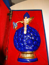 "VINTAGE Decanter JIM BEAM 175 Purple Blue & Gold with Case 12.5"" x 4.75"" x 3.5"""