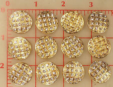 "12 vintage gold metal rhinestone Czech shank buttons checkerboard 21mm 7/8"" #481"