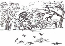 """""""TREES AND BIRDS"""" by Ruth Freeman INK SKETCH  8"""" X 113/4"""""""