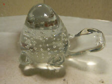 Vintage Murano Clear Art Glass Turtle w/ Circular Bubble Pattern Excellent Con