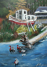 JEAN ROYSTON - 'Seafarers-Old & New' - Vintage Acrylic Painting - Canada - C1980