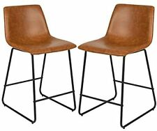 LeatherSoft Counter Height Barstools in Light Brown, Set of 2 New