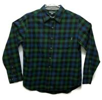 Eddie Bauer Mens Green Plaid Flannel Long Sleeve Button Shirt Size Large