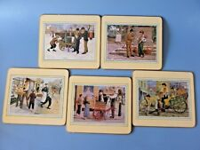 """5 Rare Cork Back Placemats With Early 20th Century People Images 8.5"""" X 7.5"""""""