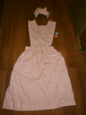 Vintage Red & White Candy Striper Uniform Dress & Hat By Shane size M Baby Pins