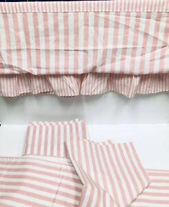 Vintage Wamsutta Pink White Stripe Twin Flat Valance & Pillowcases USA Percale