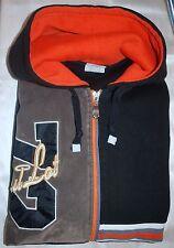 SOUL LOT JEANS INC. Graffic Faux Suede ZipUp Hoodie, Black Orange White ~ 3XL