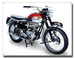 "TRIUMPH BONNEVILLE T120 MOTORCYCLE METAL SIGN.16"" X 12"" MOTORCYCLE ART.sku bur w"