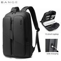 "BANGE Men Backpack Business 15.6"" Laptop Backpacks with USB Charger Waterproof"