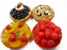 Dollhouse Miniatures Food Bakery 4 Different Mixed Pie Fruit Tart Cake 15535