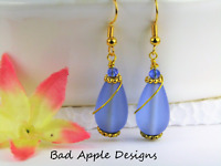 SEA GLASS Teardrop Caribbean Blue Swirl GOLD Dangle Earrings USA HANDMADE