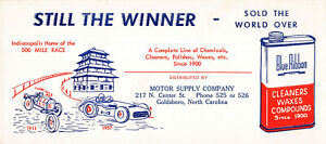 Blue Ribbon -  Car Cleaners, Waxes, and Compounds, Early Ink Blotter