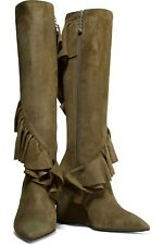 BNIB £950 J.W.ANDERSON OLIVE SUEDE RUFFLED WEDGE BOOTS s.40