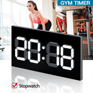 """Programmable Digital Display GYM Timer Wall 14"""" Clock With Remote Controls."""