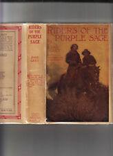 RIDERS OF THE PURPLE SAGE-ZANE GREY-1920 ED VERY RARE-ICONIC ILLUS JACKET NR FN