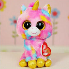 Cute Color unicorn  TY Beanie Boos Plush Stuffed Toys Glitter Eyes (6 inch)