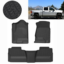 Floor Mats Liners Tpe fit for 2014-2019 Chevy Silverado Crew Cab All-Weather Us