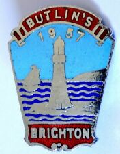 More details for butlins holiday camp badge brighton 1957 lighthouse/red labels made dublin.