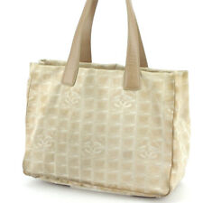 CHANEL tote bag New Travel line beige nylon jacquard �~ leather Auth used T17423
