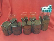 Vintage Libby Bamco Leather Longhorn Cattle Brands Barware with Cocktail Shaker