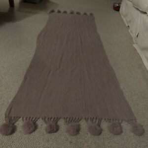 Ladies Long Wool / Angora Mix Mauve Scarf with pom poms VGC
