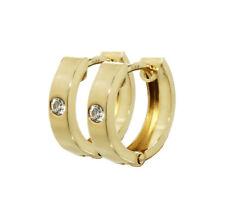 Paar 333 Gelbgold Klappcreolen Ohrringen 12,5 x 3,1mm Zirkonia Quadratisch 4745
