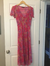 Vintage Betsey Johnson Pink Floral Chiffon Dress with Pink Slip, Size 10