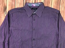 Ted Baker Mens Long Sleeve Striped Shirt Black Purple Floral Collar Size 4