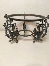 Antique Ornate Hanging Pull Down Oil Lamp Frame With Ships