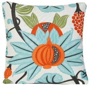 Floral Cushion Cover Pomegranate Blue Orange Osborne & Little Maharani Fabric