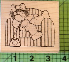 On the Phone Q212 DOTS CTMH JRL Design rubber stamp Girl on Sofa on Phone