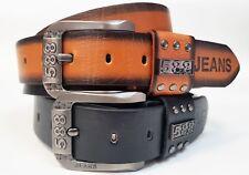 Ledergürtel Gürtel Herren Damen 110-135cm PU-Besatz Gürtellänge Jeans  333 Black