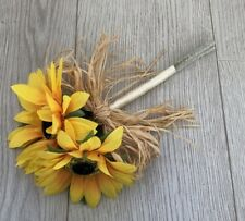 SUNFLOWER ARTIFICIAL WEDDING FLOWERS FLOWER GIRL BOUQUET POSIE WAND RAFFIA BOW