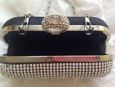 Prom Bridal Wedding Sparkly Crystal Evening Ring Clutch Bag purse Black Silver