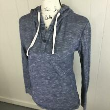 L.O.G.G. H&M Button V-Neck Pullover Gray Print Hoodie Sweatshirt Women's Size M