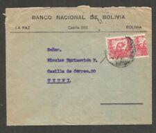 Bolivia Scott #261 1944 Bisected Chinchilla Squirrel 60c on cover