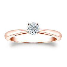 Certified 14k Rose Gold 4-Prong Round Diamond Solitaire Ring 0.25ctw G-H, I1-I2