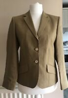 MAGEE Womens Smart Gold Tan Linen Jacket Blazer Lined SZ UK 12 Wedding Cruise