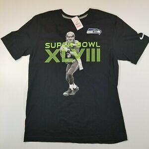 Nike Men's Medium Regular Fit Black Super Bowl XLVIII 48 Russell Wilson T-Shirt