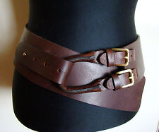 New Jigsaw Genuine Leather Boho Chic Corset Waist Belt, Size Small, NWT