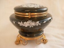 ANTIQUE FRENCH GILT BRASS ENAMELED BLACK GLASS BOX,LATE 19th CENTURY.