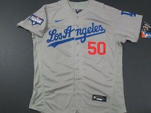 Mookie Betts #50 LA Dodgers 2020 World Series Champions Flex Base Jersey Gray