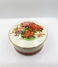 Shibata Floral Design Pin Trinket Porcelain Dish with Lid - Made in Japan