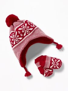 NWT Old Navy Boy's Trapper Hat and Mitten Set - Red - S, M, L