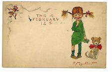 Valentines Day-SHY GIRL & HAPPY DOG-R.F. Outeault/Raphael Tuck Postcard Cute