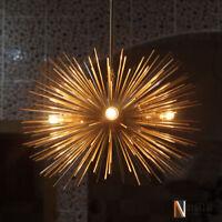 Mid century 5 Bulbs Gold Brass Sphere Urchin Chandelier Light Fixture