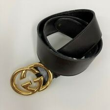 Vintage Gucci Belt GG Logo Gold Tone Metal Buckle Brown Leather Strap Size 85