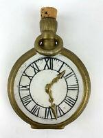 RARE Porcelain Pocket Watch Clock Stoppered Nipper Flask Bottle Antique/Vtg